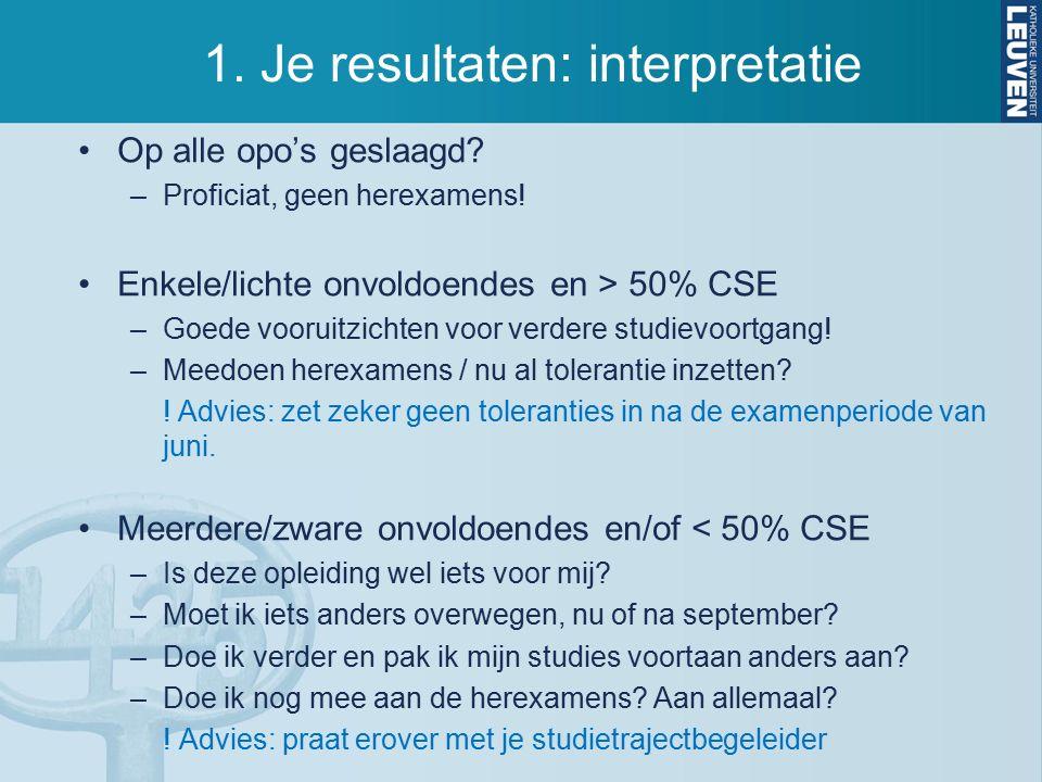 1. Je resultaten: interpretatie Op alle opo's geslaagd.