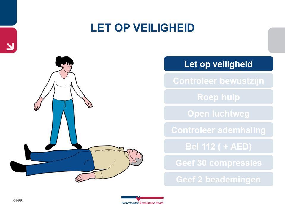 Roep hulp LET OP VEILIGHEID Let op veiligheid Geef 30 compressies Roep hulp Open luchtweg Controleer bewustzijn Controleer ademhaling Bel 112 ( + AED)