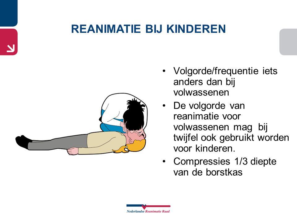 Volgorde/frequentie iets anders dan bij volwassenen De volgorde van reanimatie voor volwassenen mag bij twijfel ook gebruikt worden voor kinderen. Com