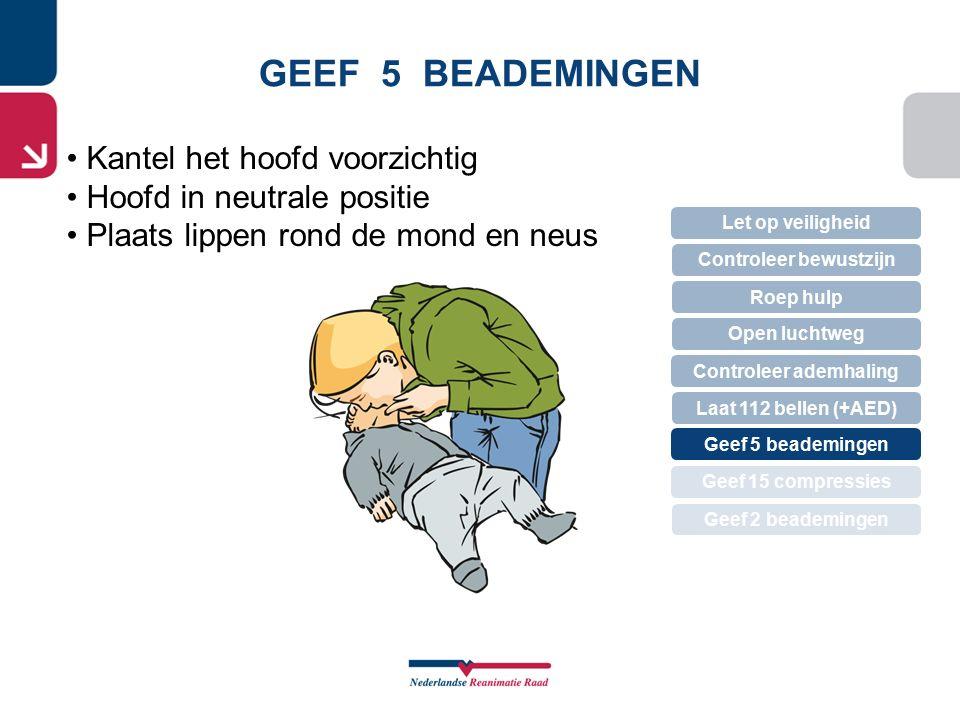 GEEF 5 BEADEMINGEN Kantel het hoofd voorzichtig Hoofd in neutrale positie Plaats lippen rond de mond en neus Let op veiligheid Controleer bewustzijn R