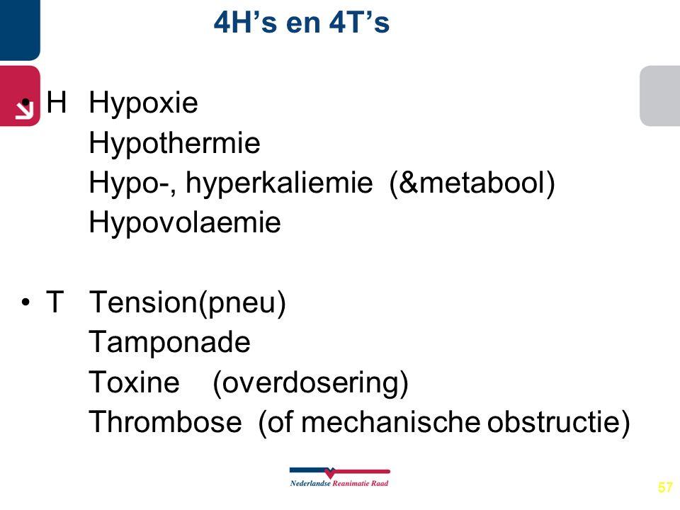57 4H's en 4T's HHypoxie Hypothermie Hypo-, hyperkaliemie (&metabool) Hypovolaemie T Tension(pneu) Tamponade Toxine (overdosering) Thrombose (of mecha