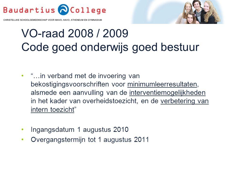 VO-raad 2008 / 2009 Code goed onderwijs goed bestuur …in verband met de invoering van bekostigingsvoorschriften voor minimumleerresultaten, alsmede een aanvulling van de interventiemogelijkheden in het kader van overheidstoezicht, en de verbetering van intern toezicht Ingangsdatum 1 augustus 2010 Overgangstermijn tot 1 augustus 2011