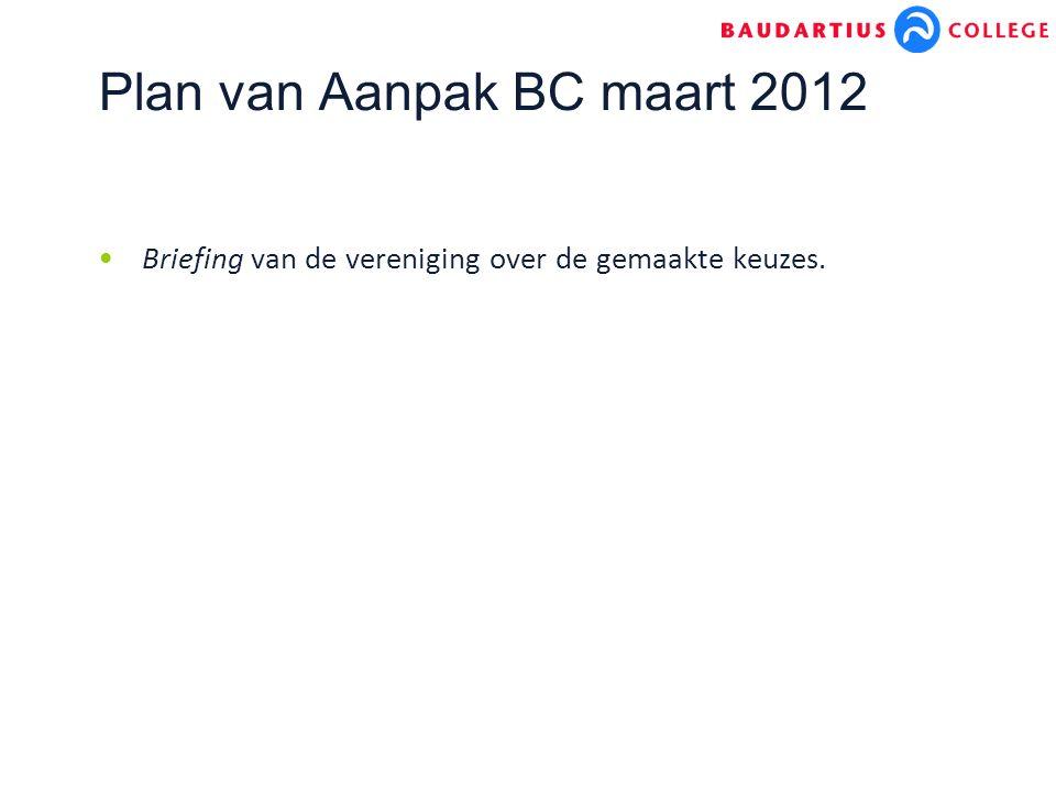 Plan van Aanpak BC maart 2012 Briefing van de vereniging over de gemaakte keuzes.