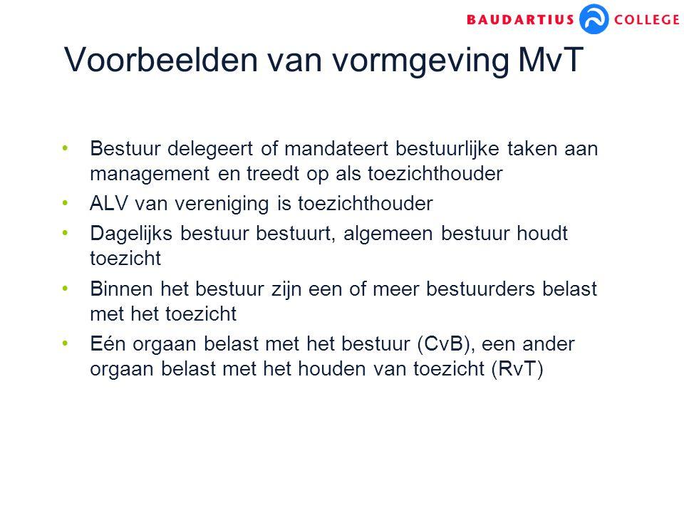 Voorbeelden van vormgeving MvT Bestuur delegeert of mandateert bestuurlijke taken aan management en treedt op als toezichthouder ALV van vereniging is