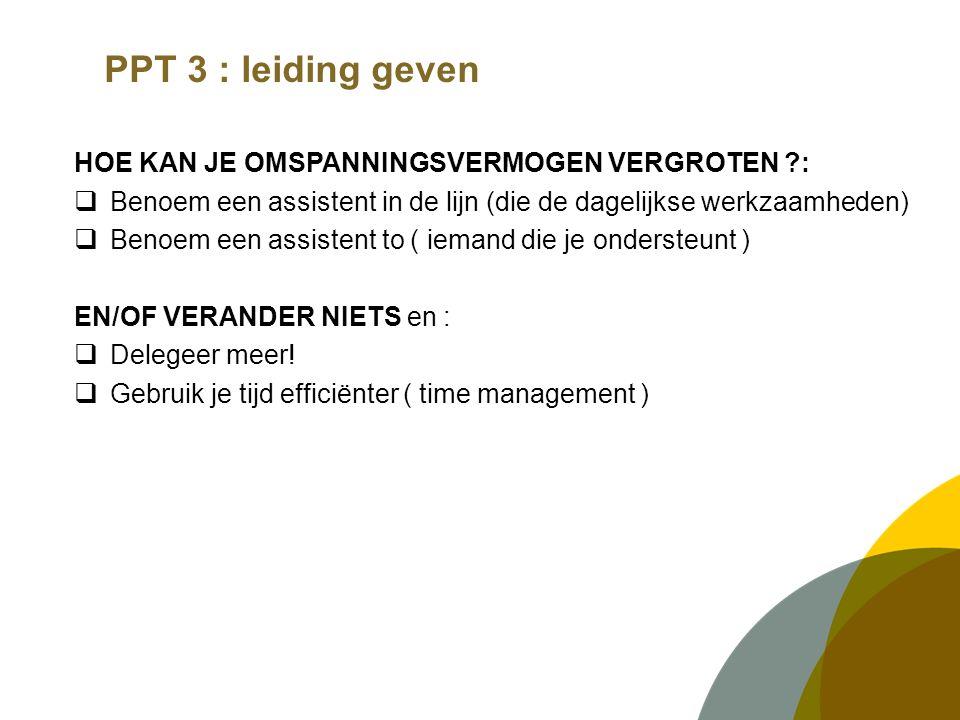 PPT 3 : leiding geven HOE KAN JE OMSPANNINGSVERMOGEN VERGROTEN :  Benoem een assistent in de lijn (die de dagelijkse werkzaamheden)  Benoem een assistent to ( iemand die je ondersteunt ) EN/OF VERANDER NIETS en :  Delegeer meer.