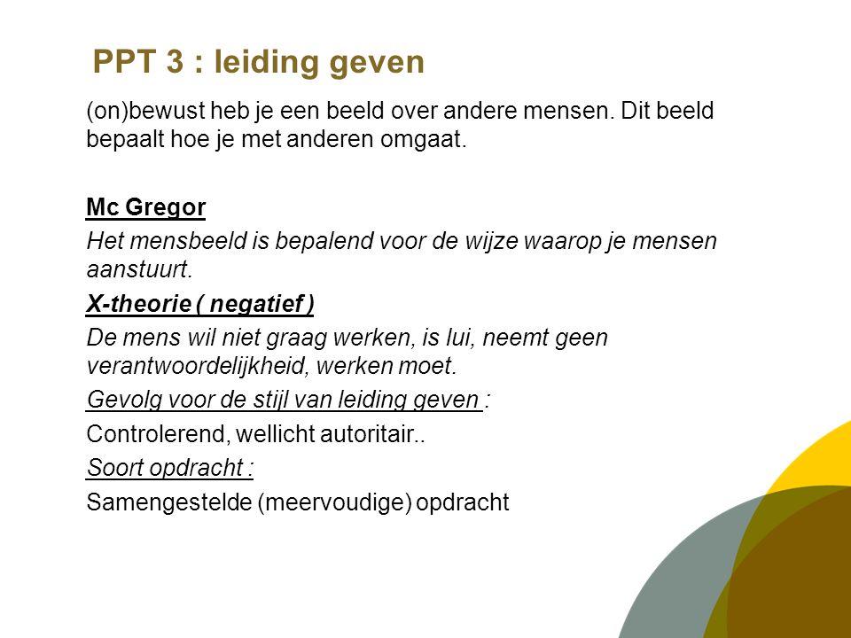 PPT 3 : leiding geven (on)bewust heb je een beeld over andere mensen.