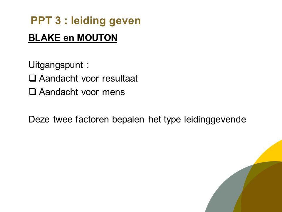 PPT 3 : leiding geven BLAKE en MOUTON Uitgangspunt :  Aandacht voor resultaat  Aandacht voor mens Deze twee factoren bepalen het type leidinggevende