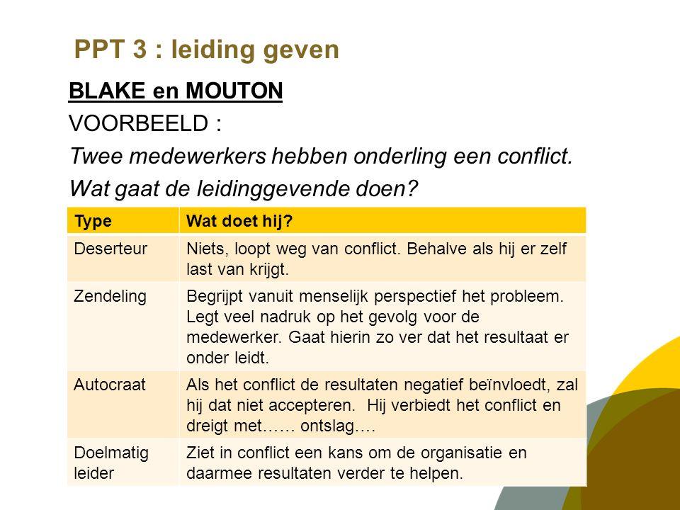PPT 3 : leiding geven BLAKE en MOUTON VOORBEELD : Twee medewerkers hebben onderling een conflict.