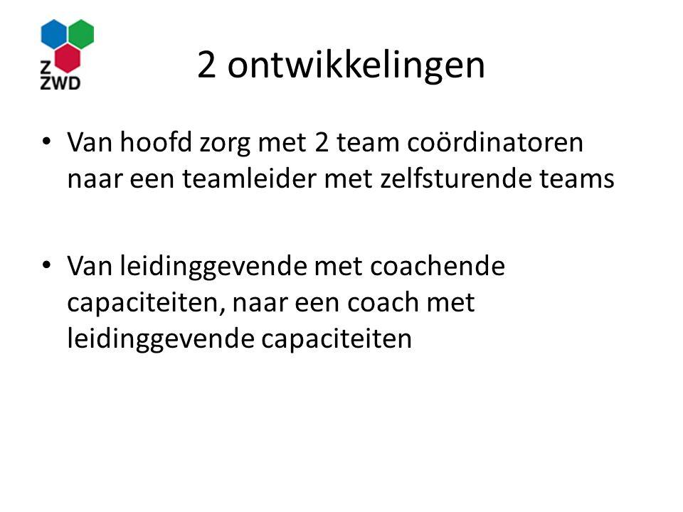 2 ontwikkelingen Van hoofd zorg met 2 team coördinatoren naar een teamleider met zelfsturende teams Van leidinggevende met coachende capaciteiten, naa
