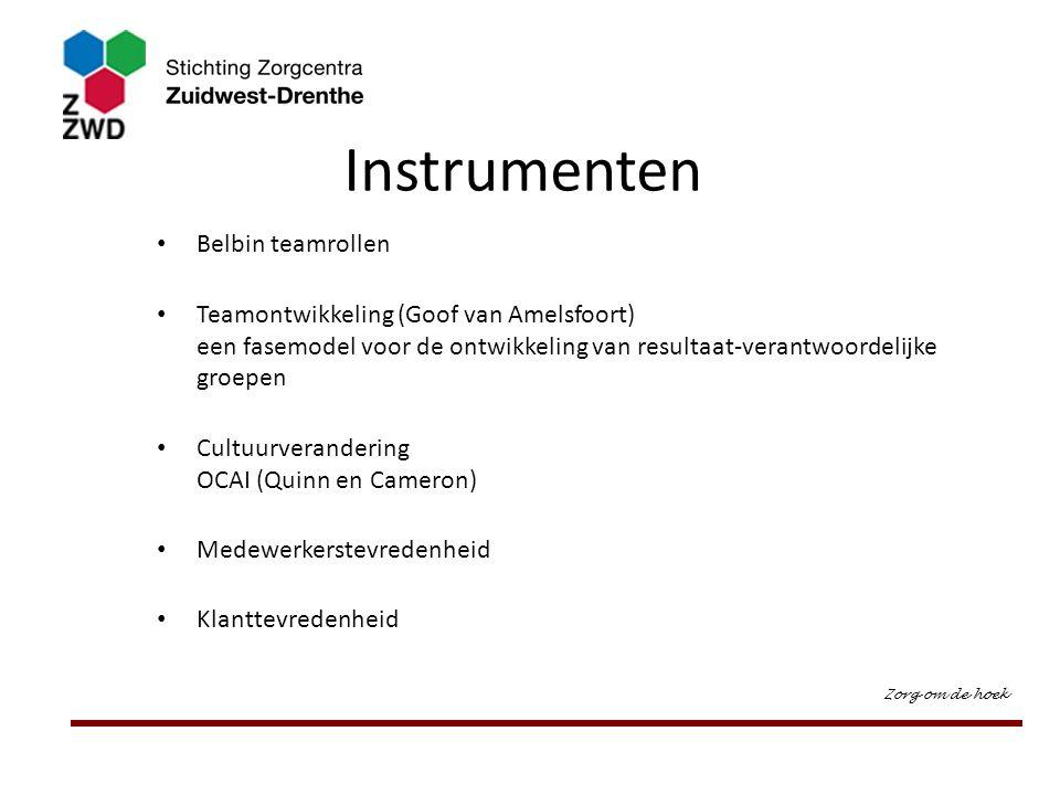 Instrumenten Belbin teamrollen Teamontwikkeling (Goof van Amelsfoort) een fasemodel voor de ontwikkeling van resultaat-verantwoordelijke groepen Cultu