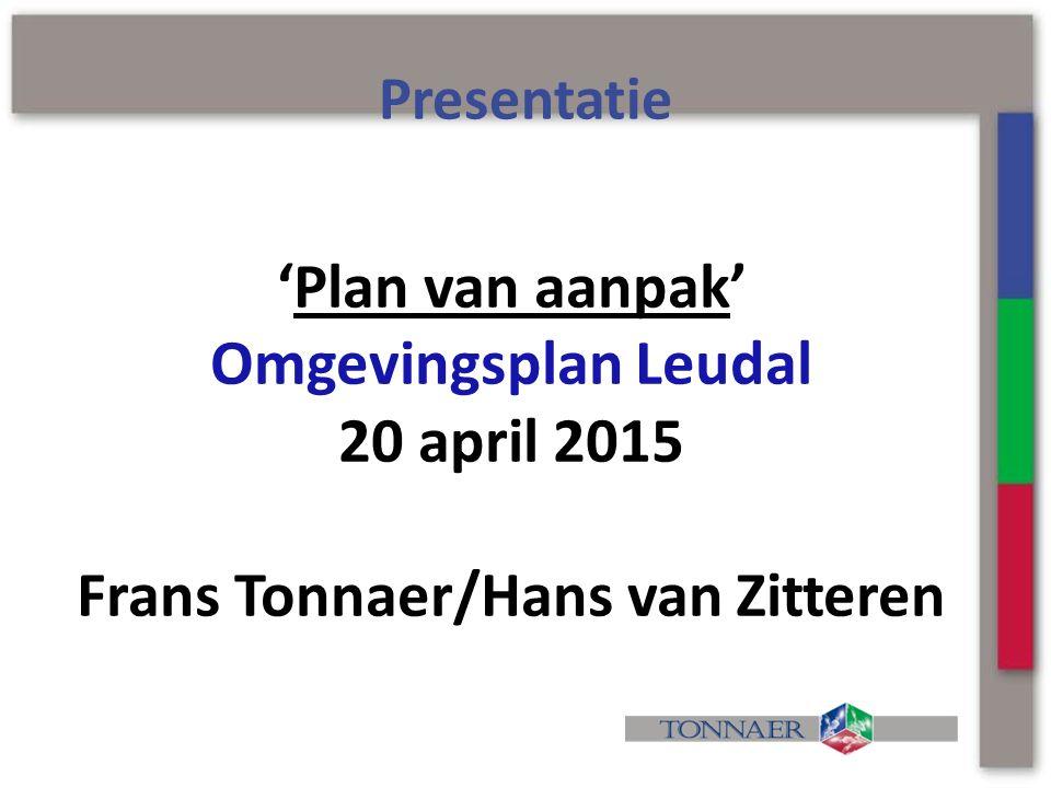 'Plan van aanpak' Omgevingsplan Leudal 20 april 2015 Frans Tonnaer/Hans van Zitteren Presentatie