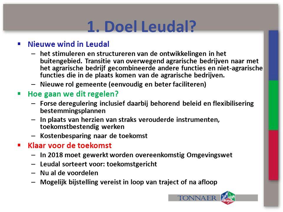 1. Doel Leudal?  Nieuwe wind in Leudal – het stimuleren en structureren van de ontwikkelingen in het buitengebied. Transitie van overwegend agrarisch