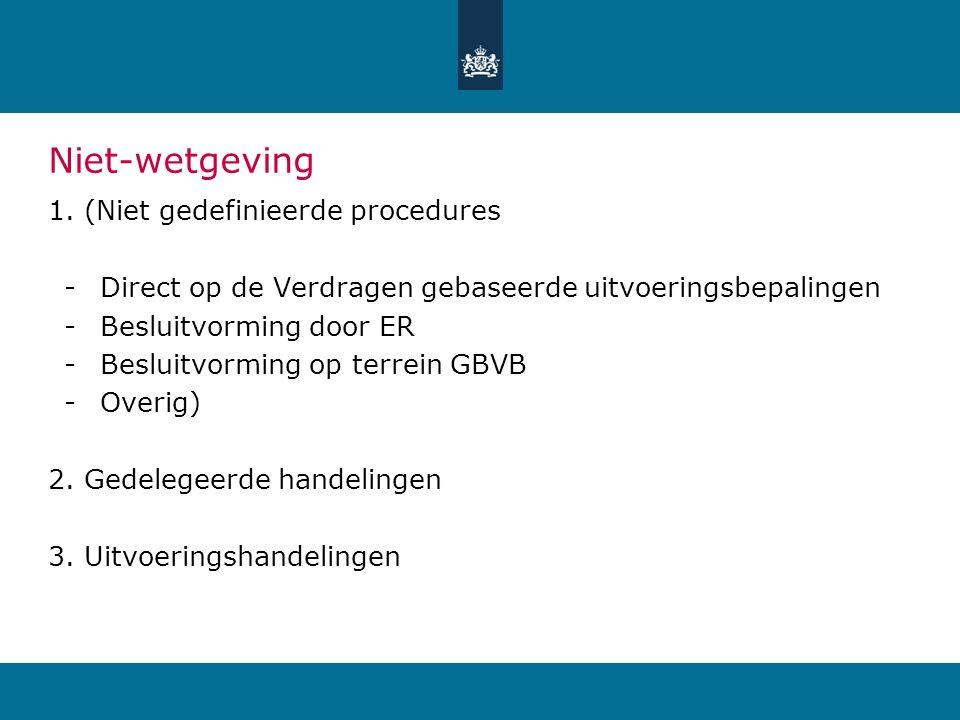 Niet-wetgeving 1.(Niet gedefinieerde procedures -Direct op de Verdragen gebaseerde uitvoeringsbepalingen -Besluitvorming door ER -Besluitvorming op terrein GBVB -Overig) 2.