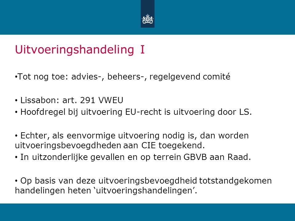Uitvoeringshandeling I Tot nog toe: advies-, beheers-, regelgevend comité Lissabon: art. 291 VWEU Hoofdregel bij uitvoering EU-recht is uitvoering doo