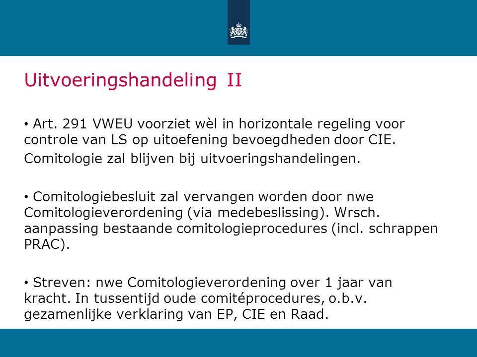 Uitvoeringshandeling II Art. 291 VWEU voorziet wèl in horizontale regeling voor controle van LS op uitoefening bevoegdheden door CIE. Comitologie zal