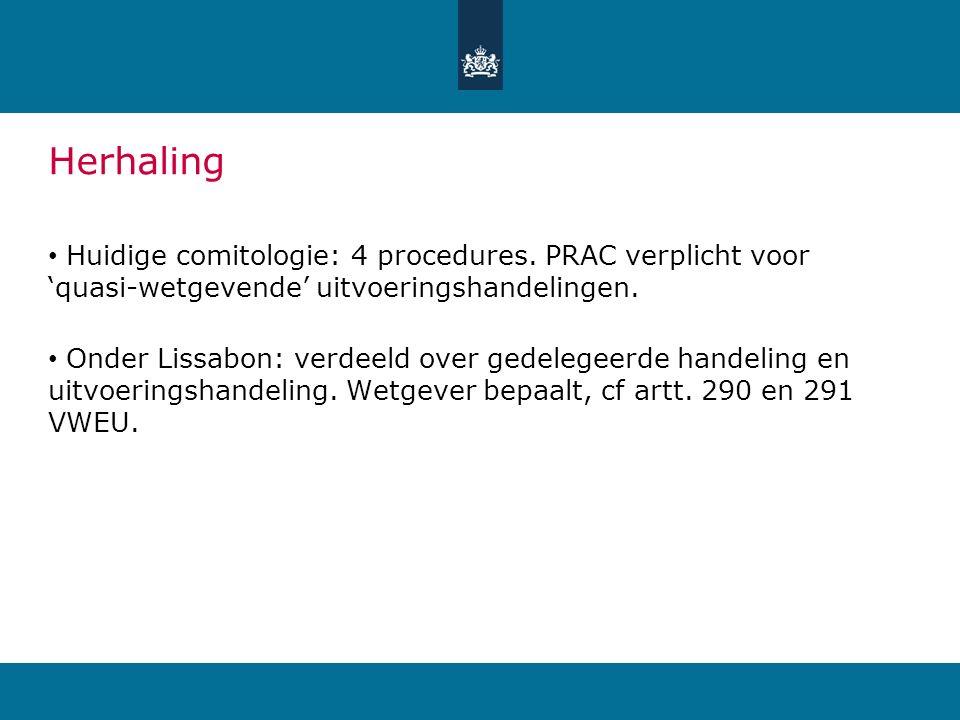 Herhaling Huidige comitologie: 4 procedures. PRAC verplicht voor 'quasi-wetgevende' uitvoeringshandelingen. Onder Lissabon: verdeeld over gedelegeerde