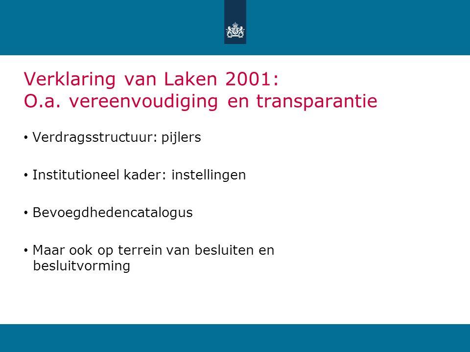 Verklaring van Laken 2001: O.a. vereenvoudiging en transparantie Verdragsstructuur: pijlers Institutioneel kader: instellingen Bevoegdhedencatalogus M