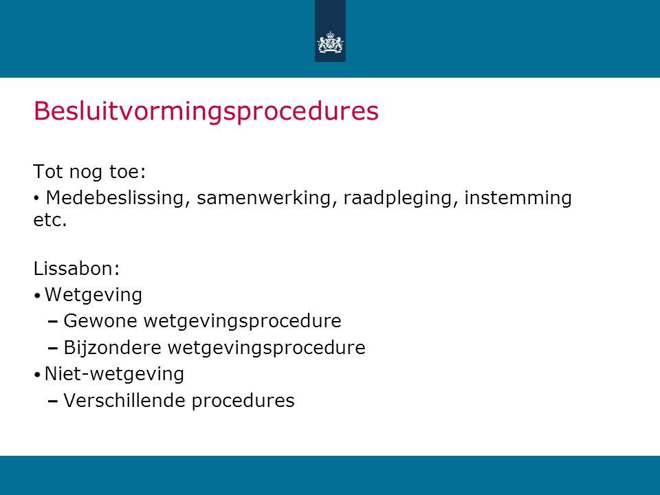 Besluitvormingsprocedures Tot nog toe: Medebeslissing, samenwerking, raadpleging, instemming etc.