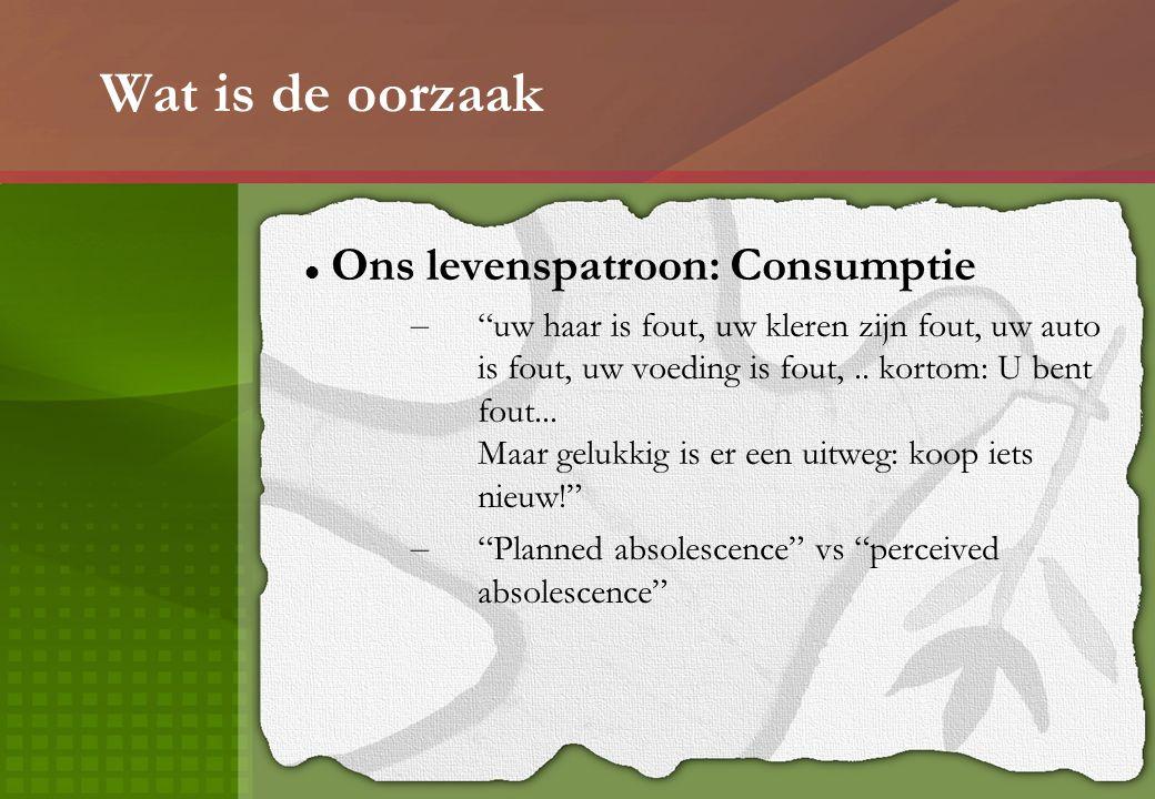 Wat is de oorzaak Ons levenspatroon: Consumptie – uw haar is fout, uw kleren zijn fout, uw auto is fout, uw voeding is fout,..