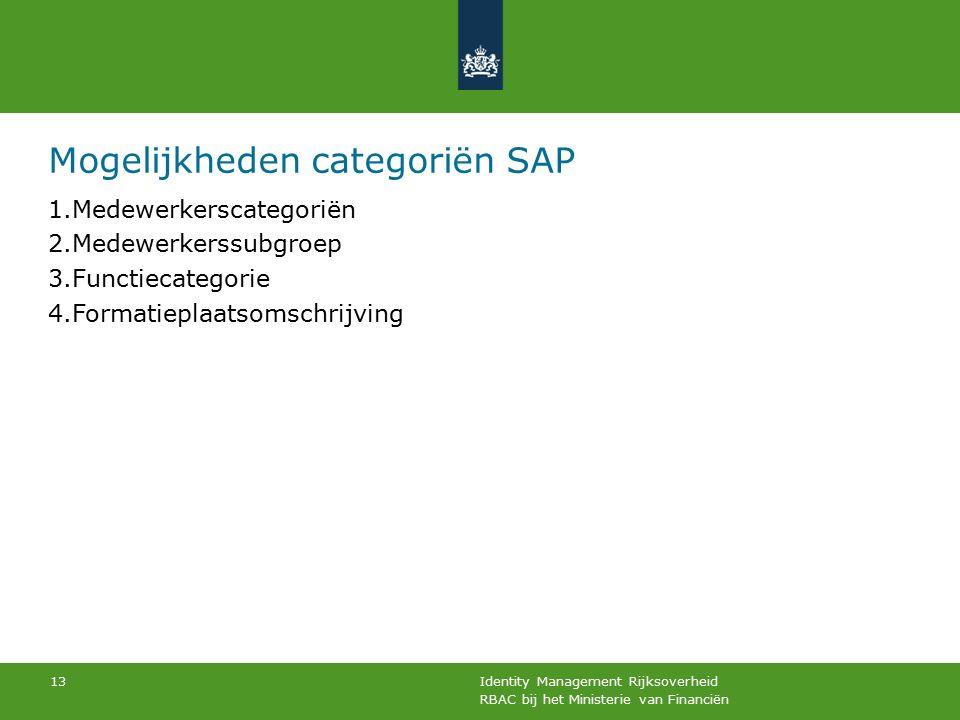 RBAC bij het Ministerie van Financiën Identity Management Rijksoverheid 13 Mogelijkheden categoriën SAP 1.Medewerkerscategoriën 2.Medewerkerssubgroep 3.Functiecategorie 4.Formatieplaatsomschrijving
