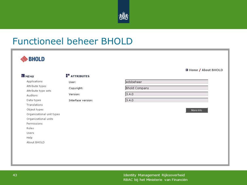 RBAC bij het Ministerie van Financiën Identity Management Rijksoverheid 43 Functioneel beheer BHOLD