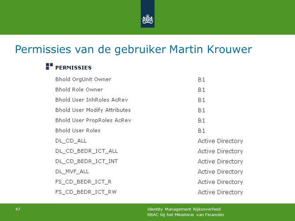 RBAC bij het Ministerie van Financiën Identity Management Rijksoverheid 47 Permissies van de gebruiker Martin Krouwer