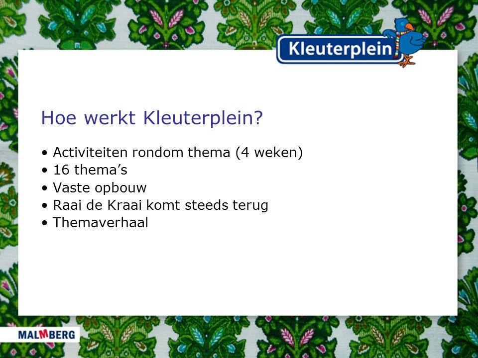 Hoe werkt Kleuterplein? Activiteiten rondom thema (4 weken) 16 thema's Vaste opbouw Raai de Kraai komt steeds terug Themaverhaal