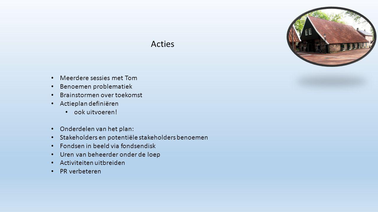 Meerdere sessies met Tom Benoemen problematiek Brainstormen over toekomst Actieplan definiëren ook uitvoeren! Onderdelen van het plan: Stakeholders en