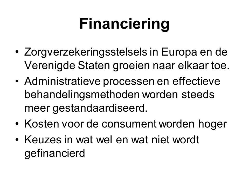 Financiering Zorgverzekeringsstelsels in Europa en de Verenigde Staten groeien naar elkaar toe.