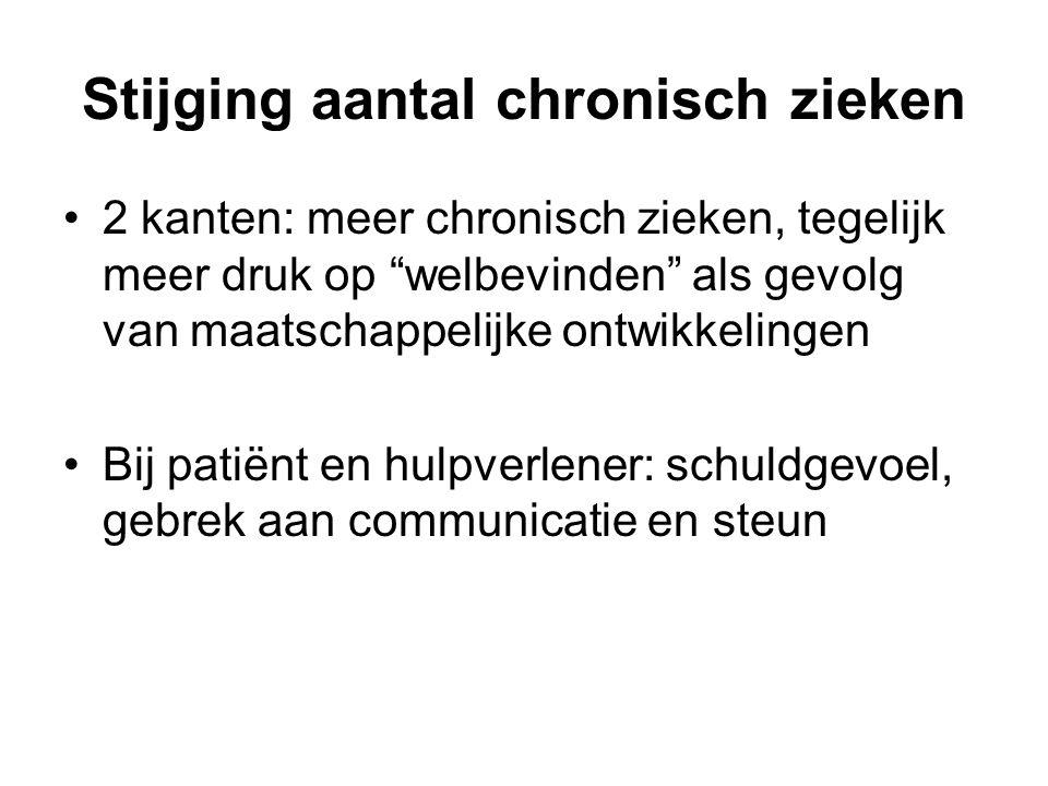 Stijging aantal chronisch zieken 2 kanten: meer chronisch zieken, tegelijk meer druk op welbevinden als gevolg van maatschappelijke ontwikkelingen Bij patiënt en hulpverlener: schuldgevoel, gebrek aan communicatie en steun