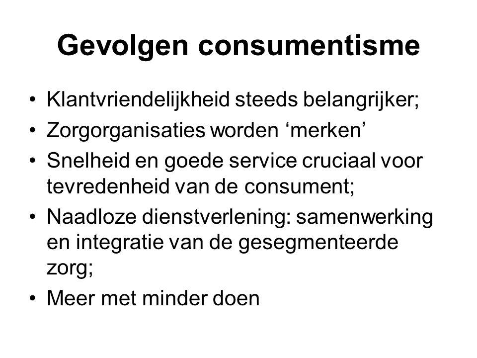 Gevolgen consumentisme Klantvriendelijkheid steeds belangrijker; Zorgorganisaties worden 'merken' Snelheid en goede service cruciaal voor tevredenheid van de consument; Naadloze dienstverlening: samenwerking en integratie van de gesegmenteerde zorg; Meer met minder doen