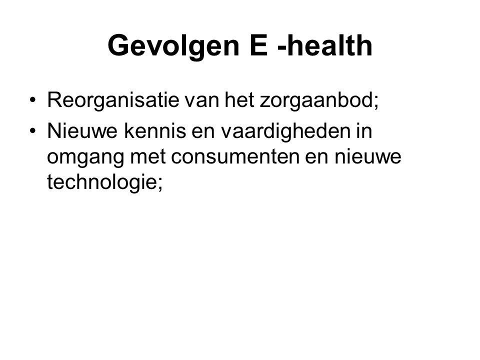 Gevolgen E -health Reorganisatie van het zorgaanbod; Nieuwe kennis en vaardigheden in omgang met consumenten en nieuwe technologie;