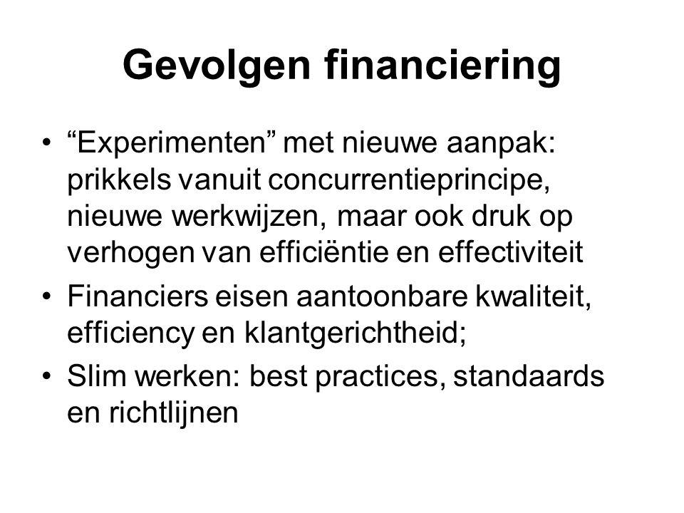 Gevolgen financiering Experimenten met nieuwe aanpak: prikkels vanuit concurrentieprincipe, nieuwe werkwijzen, maar ook druk op verhogen van efficiëntie en effectiviteit Financiers eisen aantoonbare kwaliteit, efficiency en klantgerichtheid; Slim werken: best practices, standaards en richtlijnen