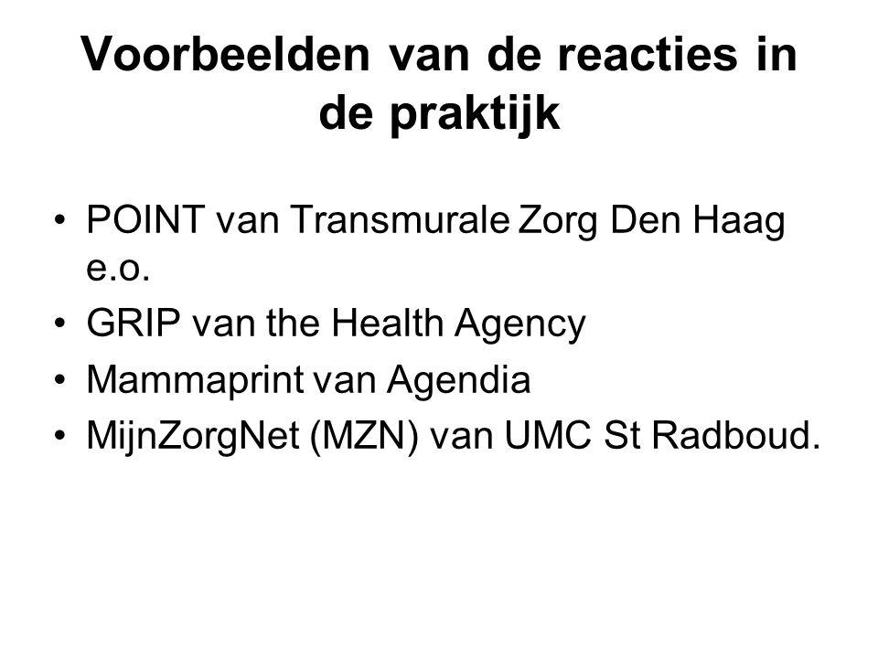Voorbeelden van de reacties in de praktijk POINT van Transmurale Zorg Den Haag e.o.