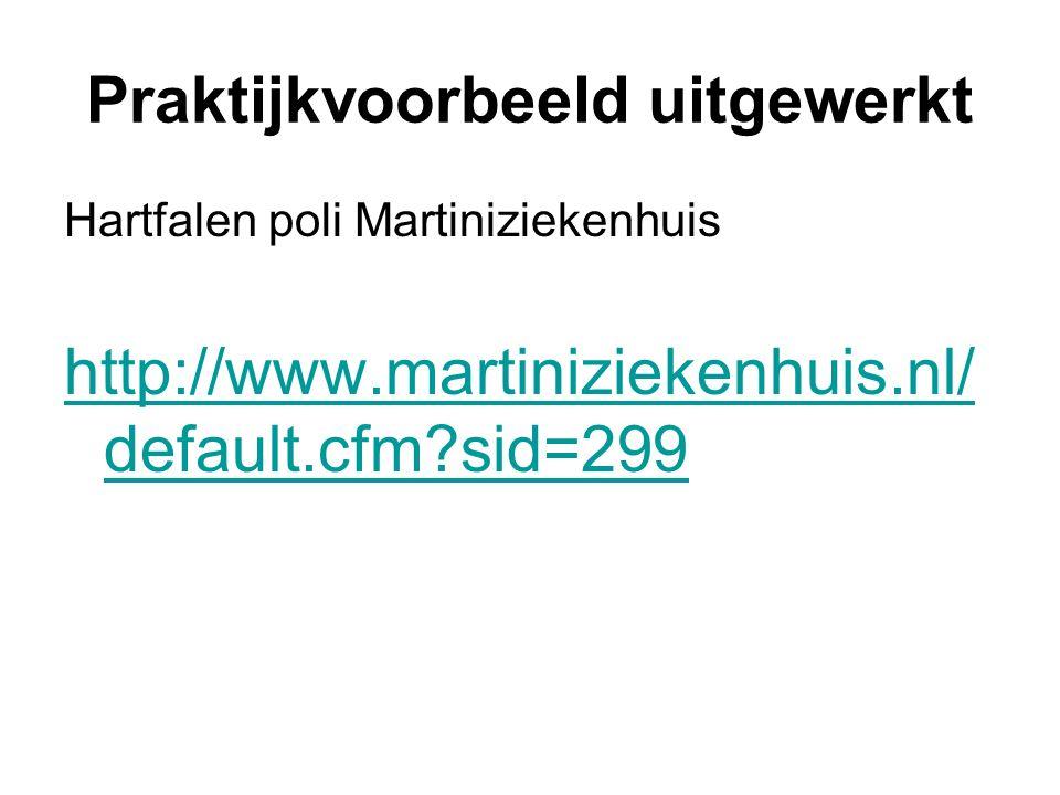 Praktijkvoorbeeld uitgewerkt Hartfalen poli Martiniziekenhuis http://www.martiniziekenhuis.nl/ default.cfm sid=299