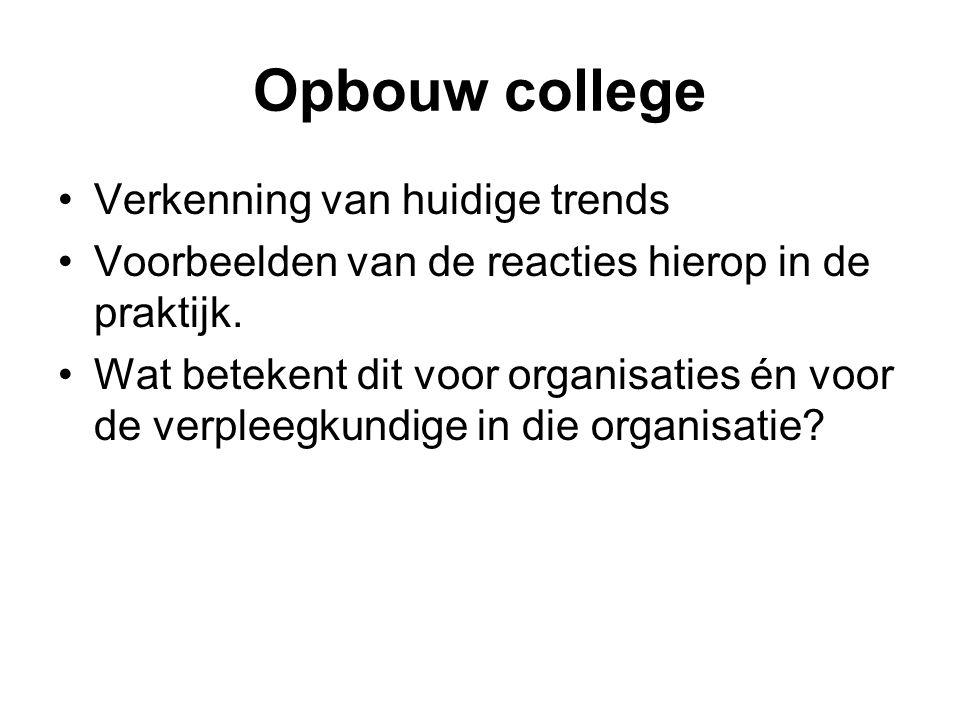 Opbouw college Verkenning van huidige trends Voorbeelden van de reacties hierop in de praktijk.