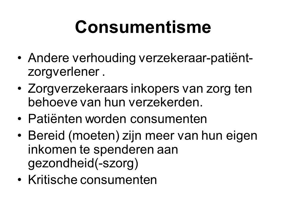 Consumentisme Andere verhouding verzekeraar-patiënt- zorgverlener.
