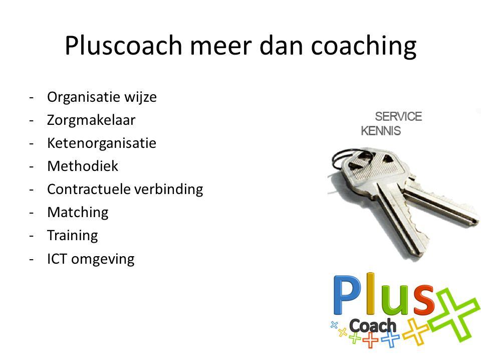 Pluscoach meer dan coaching -Organisatie wijze -Zorgmakelaar -Ketenorganisatie -Methodiek -Contractuele verbinding -Matching -Training -ICT omgeving
