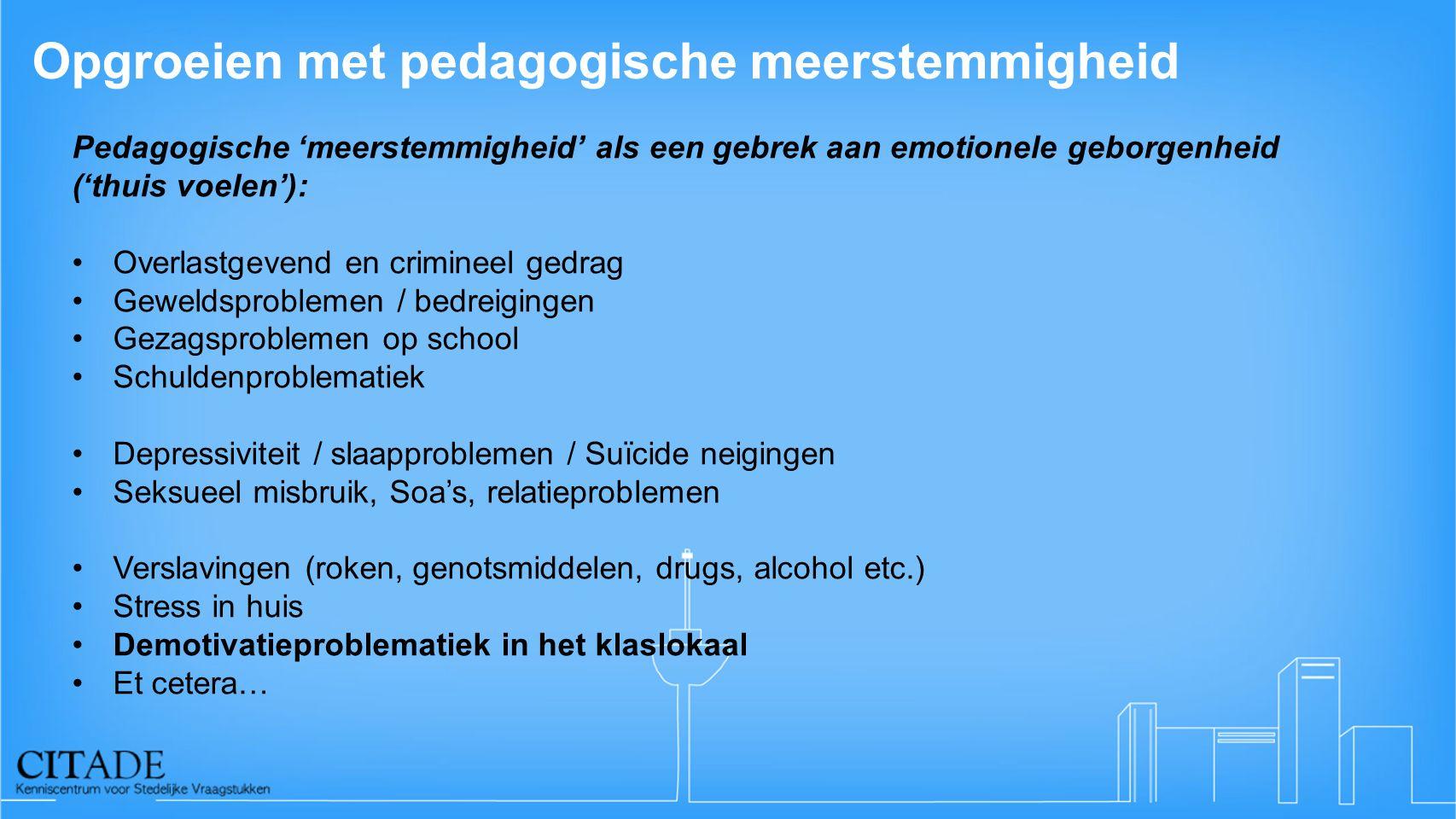 Opgroeien met pedagogische meerstemmigheid Pedagogische 'meerstemmigheid' als een gebrek aan emotionele geborgenheid ('thuis voelen'): Overlastgevend en crimineel gedrag Geweldsproblemen / bedreigingen Gezagsproblemen op school Schuldenproblematiek Depressiviteit / slaapproblemen / Suïcide neigingen Seksueel misbruik, Soa's, relatieproblemen Verslavingen (roken, genotsmiddelen, drugs, alcohol etc.) Stress in huis Demotivatieproblematiek in het klaslokaal Et cetera…