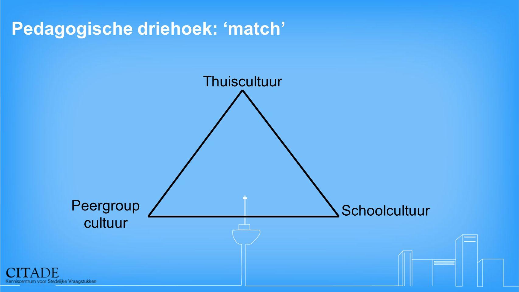 Pedagogische driehoek: 'match' Thuiscultuur Schoolcultuur Peergroup cultuur