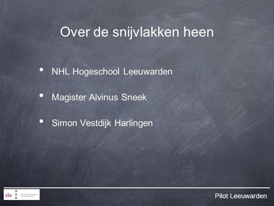 Over de snijvlakken heen NHL Hogeschool Leeuwarden Magister Alvinus Sneek Simon Vestdijk Harlingen Pilot Leeuwarden