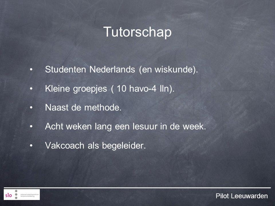 Tutorschap Studenten Nederlands (en wiskunde). Kleine groepjes ( 10 havo-4 lln).