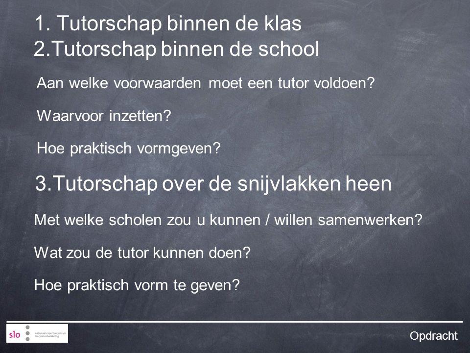 1. Tutorschap binnen de klas 2.Tutorschap binnen de school Aan welke voorwaarden moet een tutor voldoen? Waarvoor inzetten? Hoe praktisch vormgeven? O