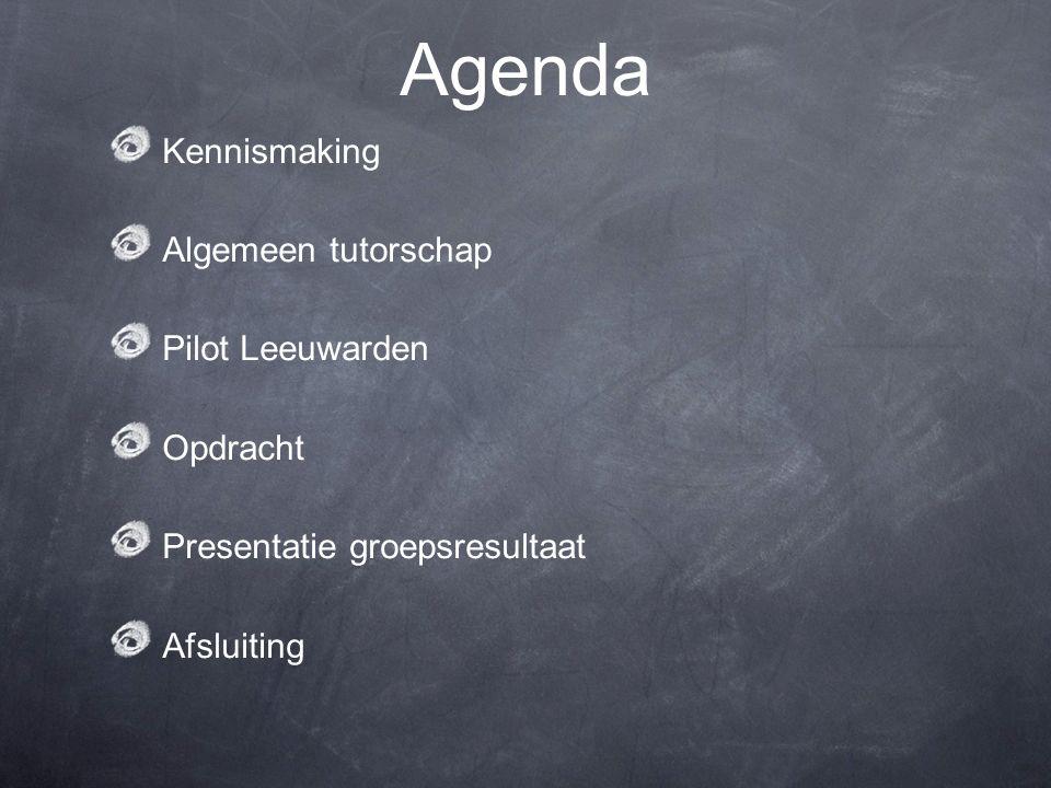 Agenda Kennismaking Algemeen tutorschap Pilot Leeuwarden Opdracht Presentatie groepsresultaat Afsluiting