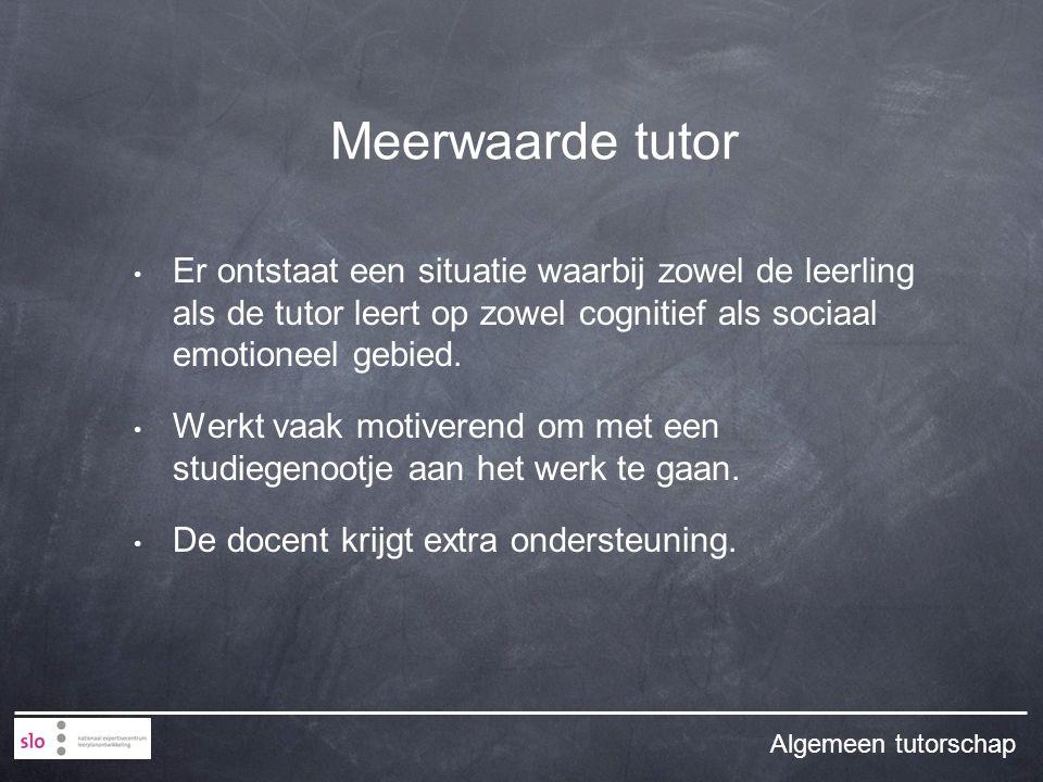 Er ontstaat een situatie waarbij zowel de leerling als de tutor leert op zowel cognitief als sociaal emotioneel gebied.