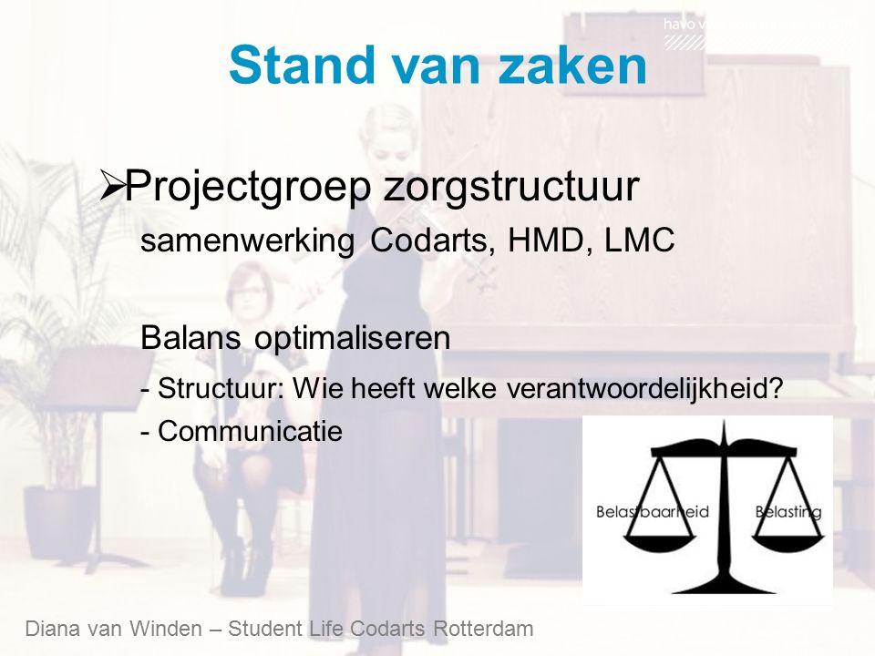 Stand van zaken  Projectgroep zorgstructuur samenwerking Codarts, HMD, LMC Balans optimaliseren - Structuur: Wie heeft welke verantwoordelijkheid? -