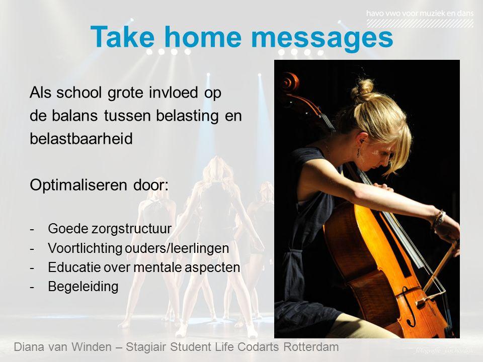 Take home messages Diana van Winden – Stagiair Student Life Codarts Rotterdam Als school grote invloed op de balans tussen belasting en belastbaarheid Optimaliseren door: -Goede zorgstructuur -Voortlichting ouders/leerlingen -Educatie over mentale aspecten -Begeleiding
