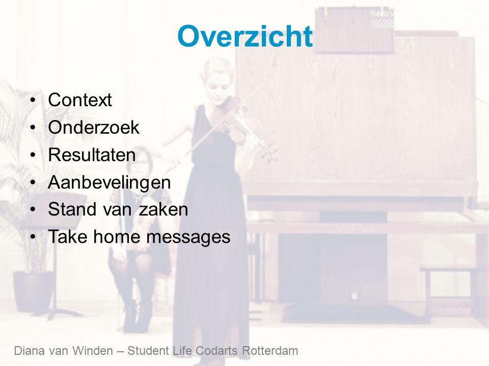 Overzicht Context Onderzoek Resultaten Aanbevelingen Stand van zaken Take home messages Diana van Winden – Student Life Codarts Rotterdam