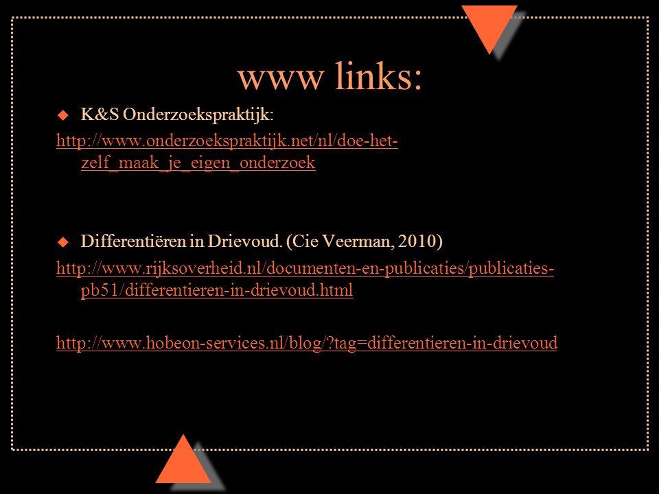 www links: u K&S Onderzoekspraktijk: http://www.onderzoekspraktijk.net/nl/doe-het- zelf_maak_je_eigen_onderzoek u Differentiëren in Drievoud.