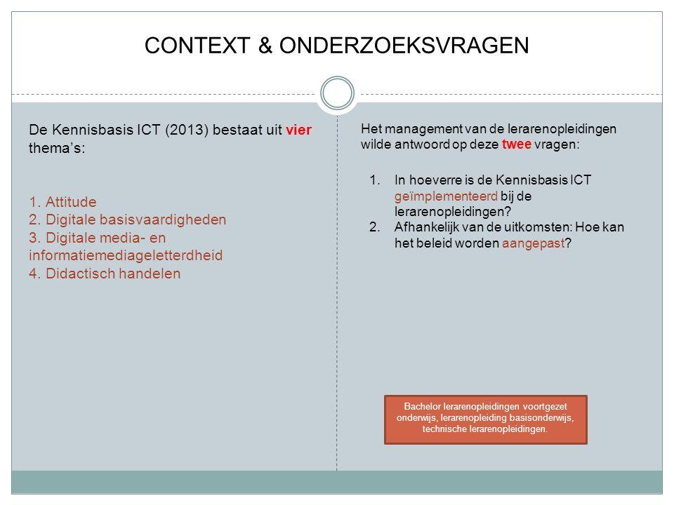 CONTEXT & ONDERZOEKSVRAGEN De Kennisbasis ICT (2013) bestaat uit vier thema's: 1.